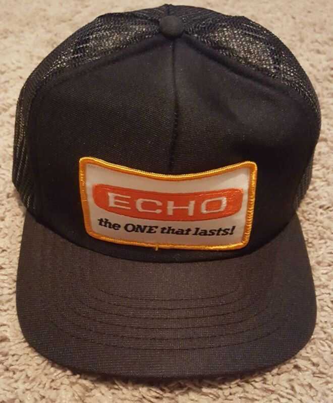 Vintage ECHO Chainsaws Foam Mesh Snapback Trucker Farmer Hat Cap Huge Patch Nice