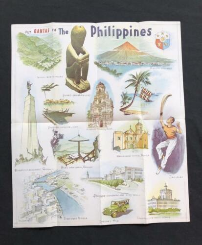 QANTAS AIRLINE Rare Original PHILIPPINES POSTER BROCHURE, 1960s Australia Manila