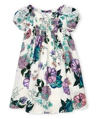 NWT YOUNG VERSACE Girls Size 10(M) Floral Print 100% Silk Dress White/Multi $800