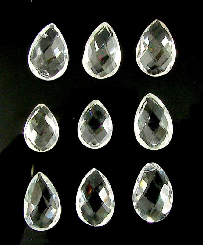 20.10 Ct Natural Clear Quartz Pear Checker Cut Loose Gemstone 9 Pcs Lot - 33792