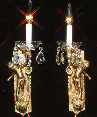 A Pair Vintage torch cherub wall sconces lamps crystal gilt brass bronze candles