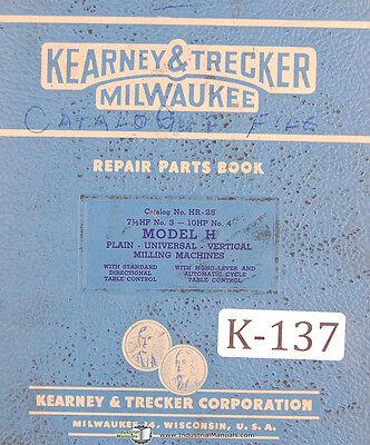 Kearney Trecker H Hr-25 Km Plain Vertical Universal Milling Machine Manual 1951