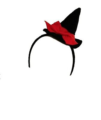 Mini Witch Hat Headband (Mini Witch Hat Black Adult Girls Ladies Headband Red Bow Fancy Dress Head)