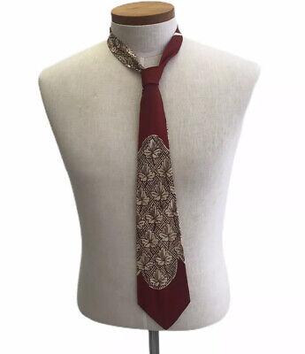 1940s Mens Ties | Wide Ties & Painted Ties Vintage 1940s Towncraft Cravats Men's Neck Tie Leaves Swing Rockabilly Zoot Suit $29.95 AT vintagedancer.com