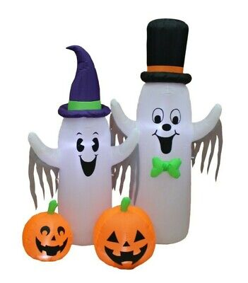 6 Foot Tall Halloween Lighted Inflatable Spooky Ghost & Pumpkin Yard Decoration