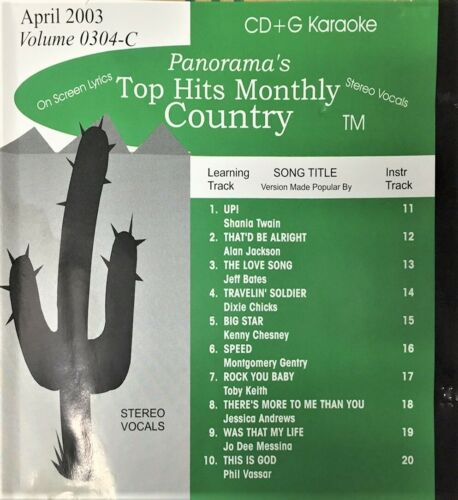 TOP HITS MONTHLY COUNTRY KARAOKE DVD/VIDEO CD APRIL 2003 VOL 0304-C NEW, SEALED!