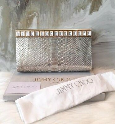 $3295 Jimmy Choo Python Crystal Cayla Clutch Bag