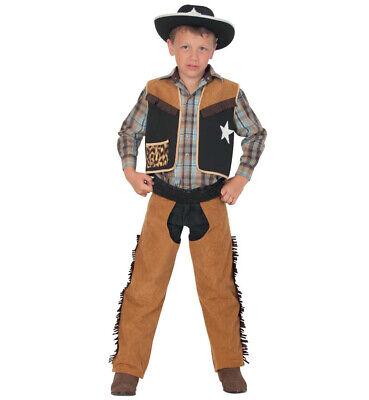 Kinderkostüm Texaner Hose und Oberteil Cowboy Chaps und Weste Viehhirt - Schwarze Cowboy Chaps & Weste Kostüm