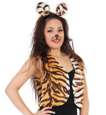 Erwachsenenkostüm Plüschweste Tiger mit Fellmuster Raubtier Raubkatze 12144913F ()