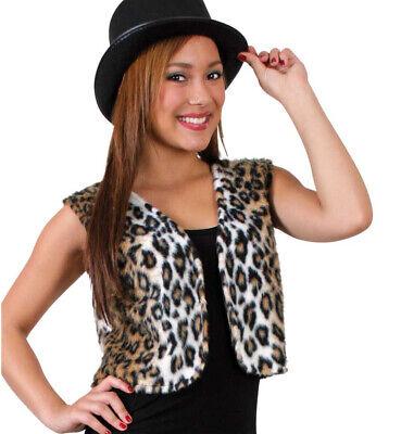 Erwachsenenkostüm Plüschweste Leopard mit Fellmuster Raubtier 12145013F