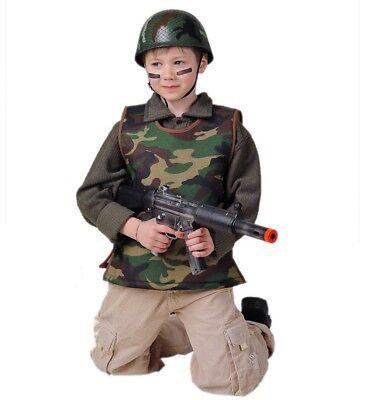Armee Kinder Kostüme (Kinderkostüm Armee-Weste in grün-braun Tarnmuster ärmellos Schutzweste 12225613F)