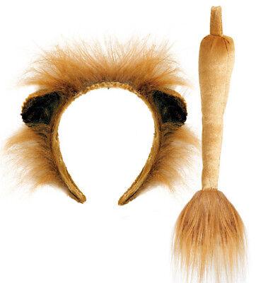 Löwen-Set, 2-tlg Haarreif mit Ohren und Schwanz, Tierkostüm, Karneval 129300613F (Ohren Und Schwanz Kostüm)