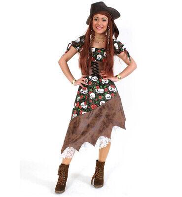 Damenkostüm Piratin Kleid in braun-grün mit Totenköpfen - Kostüme Mit Grünem Kleid