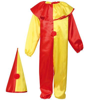 Kinderkostüm Clown in rot-gelb Overall & Hut Hofnarr - Gelbe Overall Kostüm