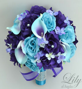 17 Piece Package Silk Flower Wedding Bridal Bouquet Sets Purple Turquoise Malibu
