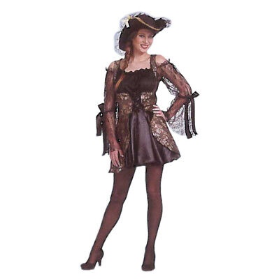 Damenkostüm Piratin schwarz 3-tlg. Kleid mit Weste und Hut Seeräuberin 12947813K ()