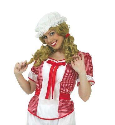 Damenkostüm Baby Doll Bluse in rot-weiß mit Schleife und Karomuster 12232413F