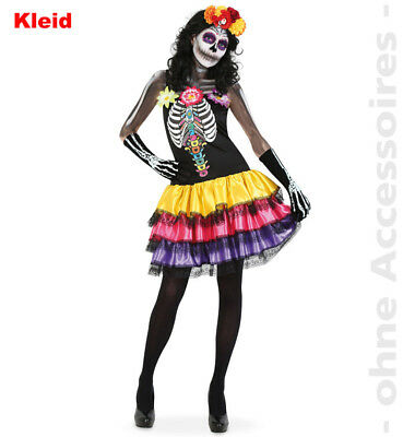 Skelett Kostüm Damen Tag der Toten  Dia de los muertos Halloween Damenkostüm