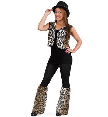 Damenkostüm Leopard Weste und Stulpen - Leopard Kostüm Damen