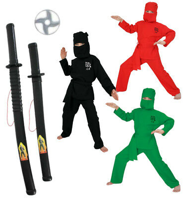 Set Ninja 4-teilig Kostüm schwarz, rot oder grün mit Schwertern und Wurfscheibe
