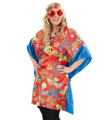 Kostüm-Set Hippie 6-teilig Oberteil Stirnband Brille Kette und 2 Ringe (Rote Kostüme Brille)
