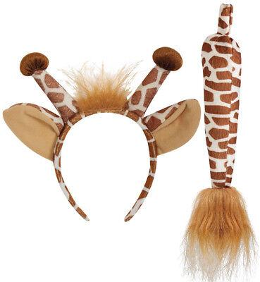 Giraffen-Set, 2-tlg. Haarreif mit Ohren und Schwanz, Tierkostüm 129300713F (Ohren Und Schwanz Kostüm)