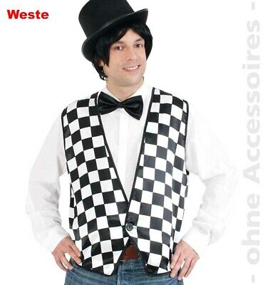 Schachbrett Muster Herren Kostüm Weste Domino Black and White - Herr White Kostüm