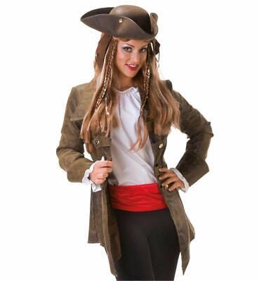 Damenkostüm-Set Piratin 3-teilig Piratenjacke mit Dreispitz, Schärpe 12989213F
