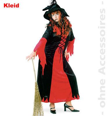 Hexe Zaubererin Kostüm Kleid Damen Rotschwarz Halloween Damenkostüm