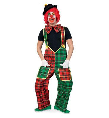Herrenkostüm-Set Clown Latzhose Schleife Perücke Hut Handschuhe und 2x Schminke - Schminken Kostüm