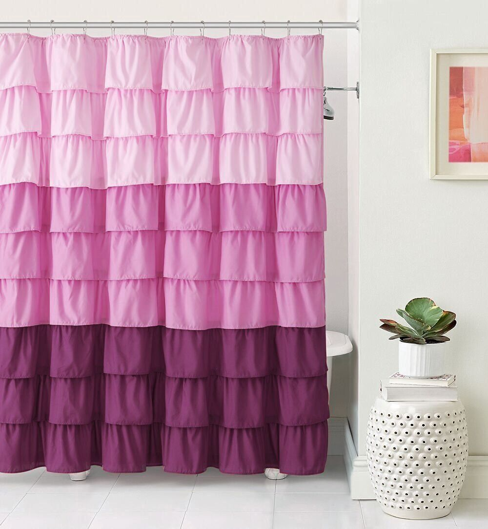Details About Vcny Home Sally Gypsy Ombre Ruffled Fabric Shower Curtains Assorted Colors