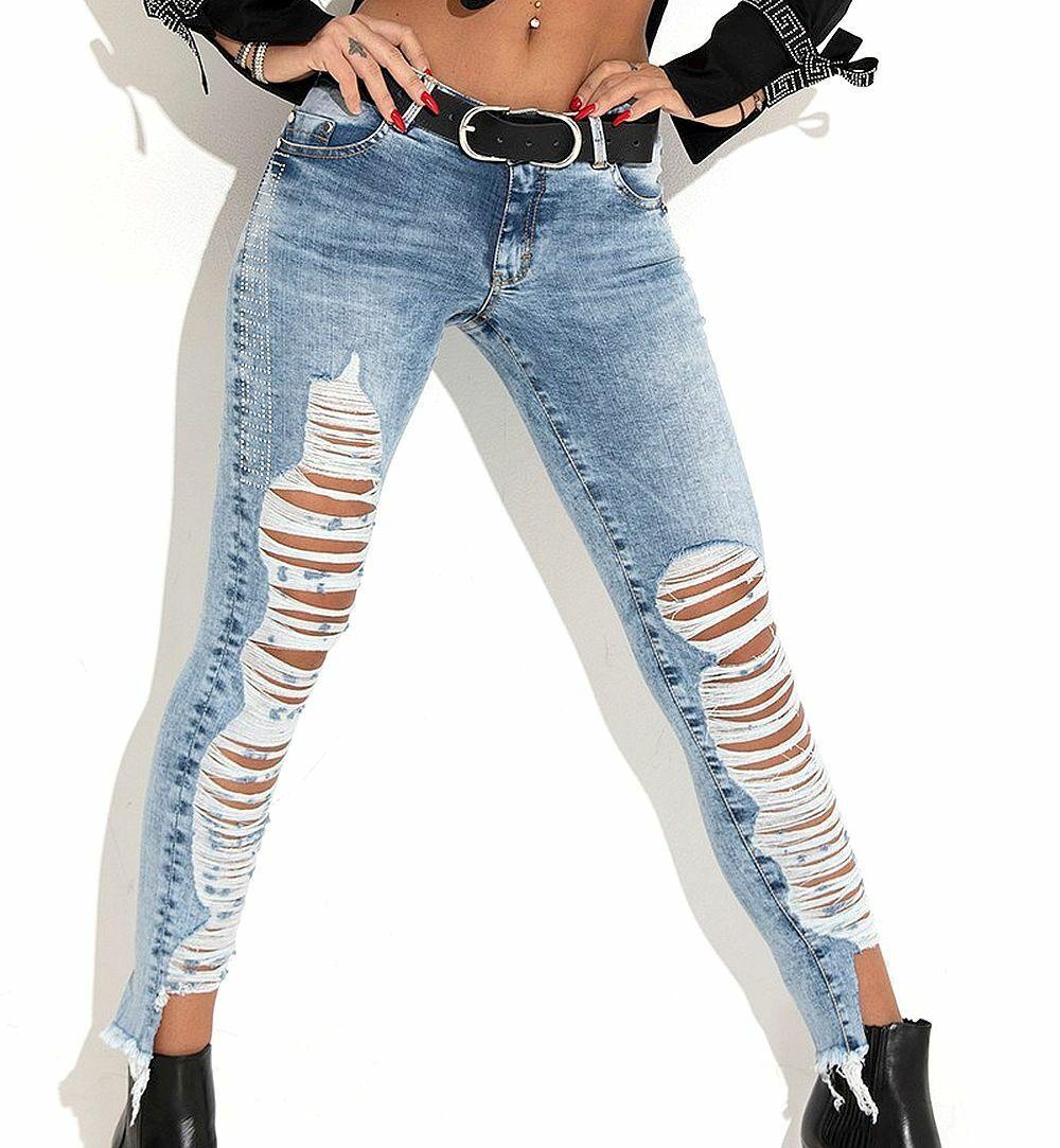 Foggi Damenjeans Jeanshose Jeans Hüfthose Röhrenjeans Spitze Skinny Schwarz 32