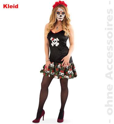 Totenkopf Kleid Damen Kostüm Tag der Toten Halloween Damenkostüm El Muerto