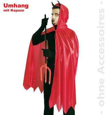 Teufel Herrenkostüm Satan Herren Teufelmantel Umhang Halloween Kostüm