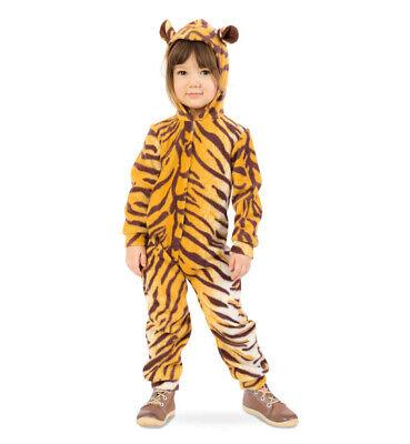 Tiger-Kostüm für Kinder mit Kapuze Overall Fasching Tier-Jumpsuit 12214613F ()