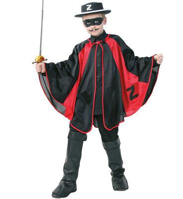 Kinderkostüm Rächer der Armen Umhang in schwarz & - Rotes Superhelden Cape