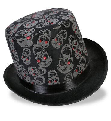 Zylinder Totenkopf in Schwarz für Erwachsene Zombiehut Halloween 123801213F