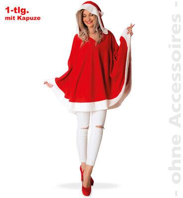 uzenponcho Nikolausin Nikolaus Damen Kostüm (Miss Santa Claus Kostüm)