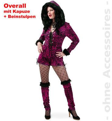 Katze Pink Leopard Kapuzentunika Kostüm Damen Wildkatze Raubkatze - Pink Leopard Katze Kostüm