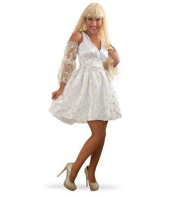 Damenkostüm Engel Kleid in weiß mit Goldenen Sternen Ärmel aus Tüll - Weiß Goldenes Kleid Kostüm