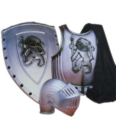 Set Ritter Brustpanzer Mantel Helm mit Visier und Schild Mittelalter - Brustpanzer Kostüm