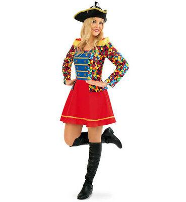 Damenkostüm-Set Zirkus Buntes Kleid mit Dreispitz in schwarz - Tanz Clown Kostüme