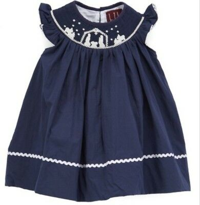 4t Lil Cactus Christmas Nativity Boutique Smocked Dress Navy  - 4t Christmas Dresses