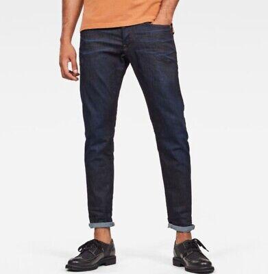 G Star Raw Mens 34 x 32L Jeans 3301 Tapered Dark Aged Denim Straight Skinny $160