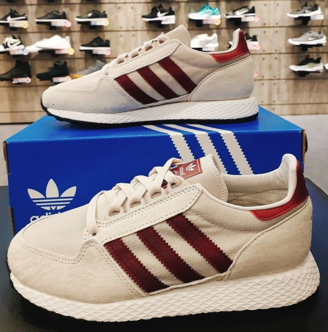 Adidas Originals Femme Homme Forest Grove Baskets B41547 Blanc Rouge Sz4 13 | eBay