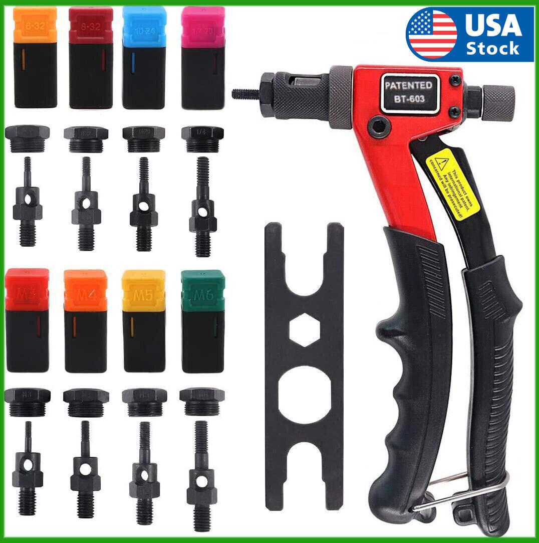 Rivet Gun Kit Rivnut Thread Setting Tool Nut Setter NutSert Metric SAE Riveting Hand Tools