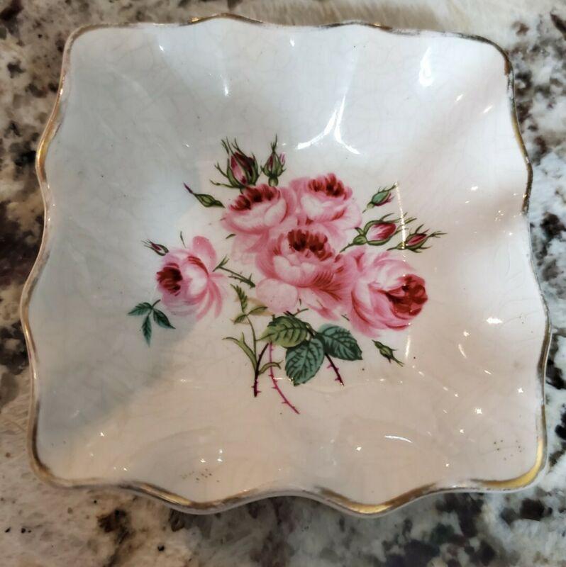 """Old Foley James Kent Staffordshire England Rose Square Trinket Dish 3"""""""