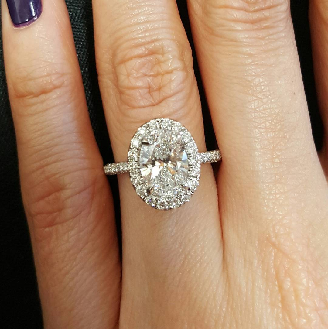 2.00 Ct Natural Oval Halo Pave Diamond Engagement Ring - GIA Certified