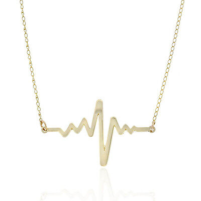 Heartbeat Necklace - Solid 10K Gold - Love Mother Heart Beat Life Nurse NEW 10k Gold Mothers Heart