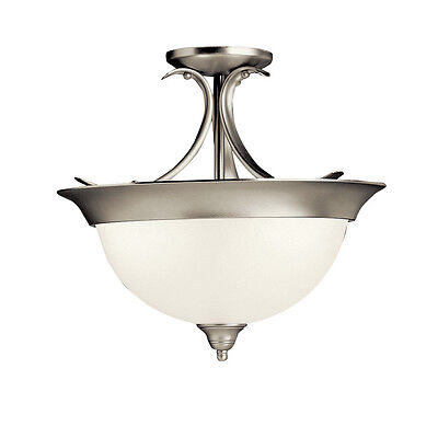 (Kichler Brushed Nickel And White Opal Glass Semi Flush Ceiling Light Fixture)